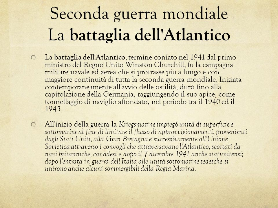 Seconda guerra mondiale La battaglia dell Atlantico