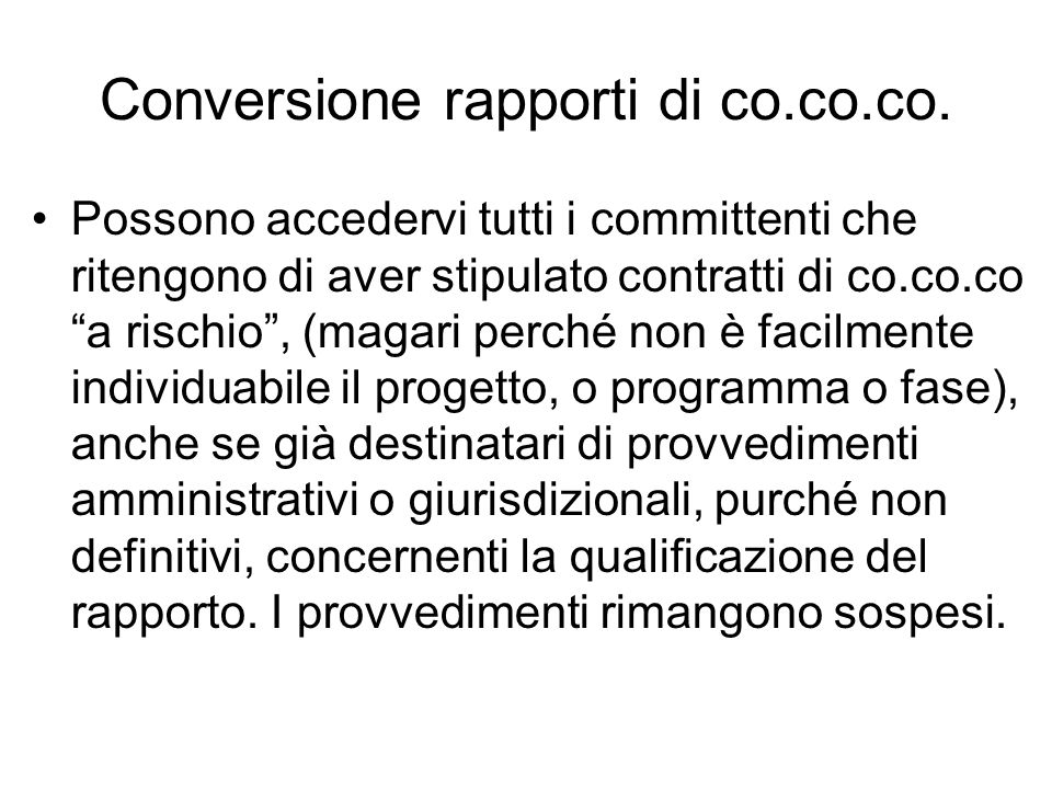 Conversione rapporti di co.co.co.