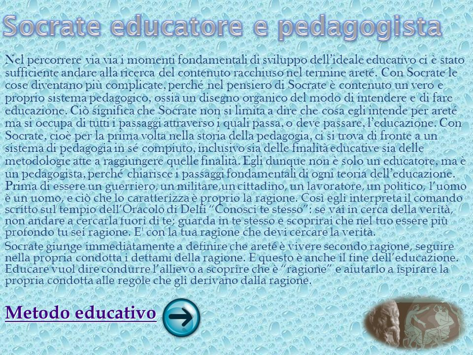 Socrate educatore e pedagogista
