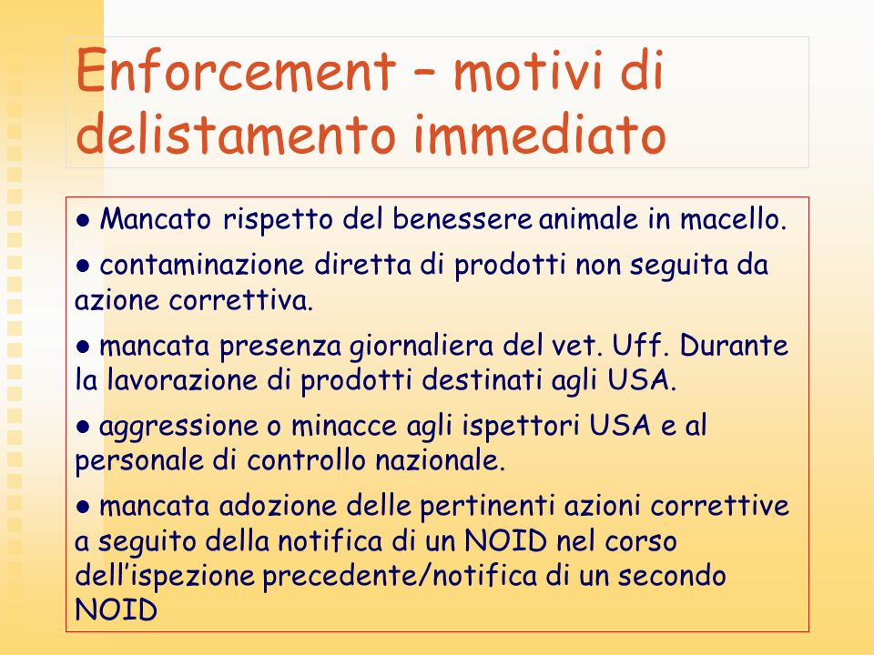 Enforcement – motivi di delistamento immediato