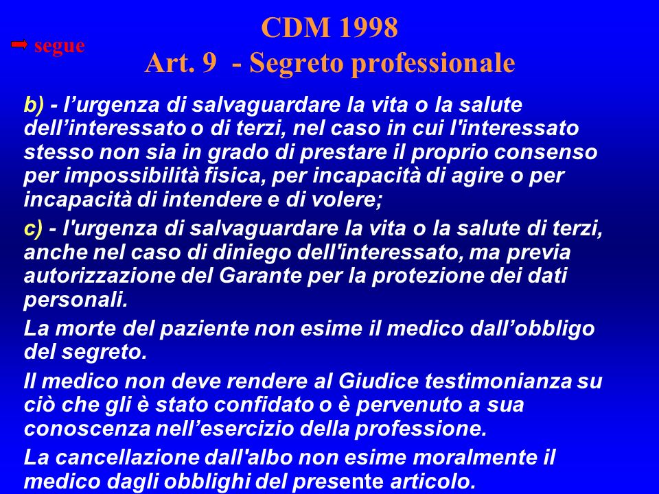 CDM 1998 Art. 9 - Segreto professionale