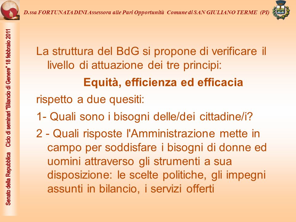 Equità, efficienza ed efficacia