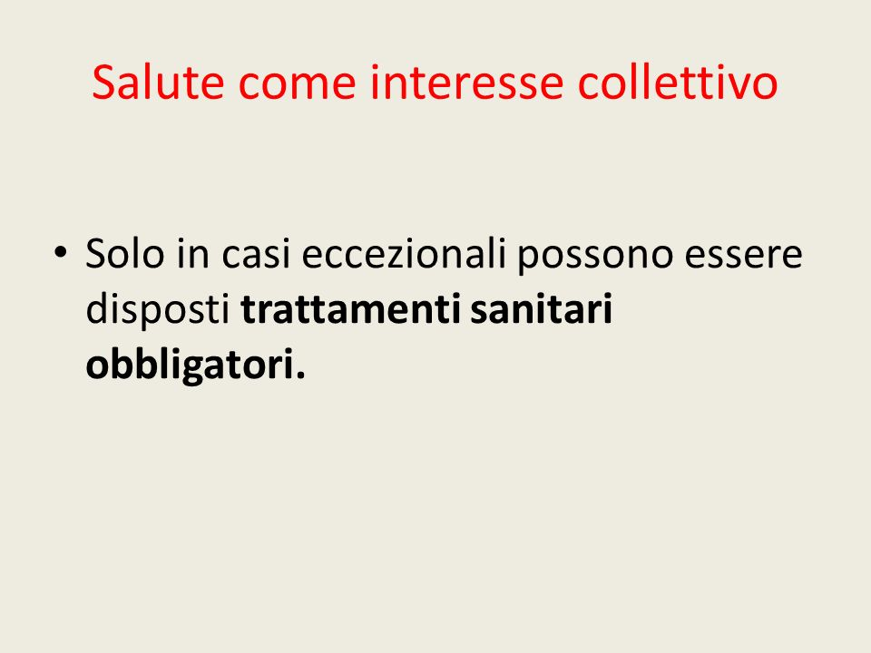 Salute come interesse collettivo