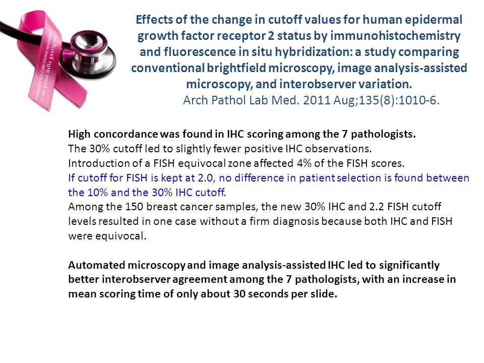 Effects of the change in cutoff values for human epidermal growth factor receptor 2 status by immunohistochemistry and fluorescence in situ hybridization: a study comparing conventional brightfield microscopy, image analysis-assisted microscopy, and interobserver variation. Arch Pathol Lab Med Aug;135(8):