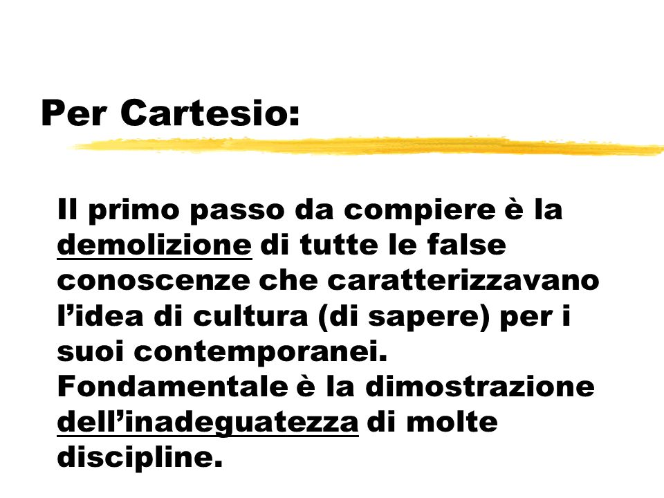 Per Cartesio: