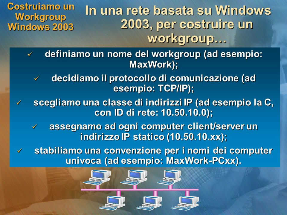 Costruiamo un Workgroup Windows 2003