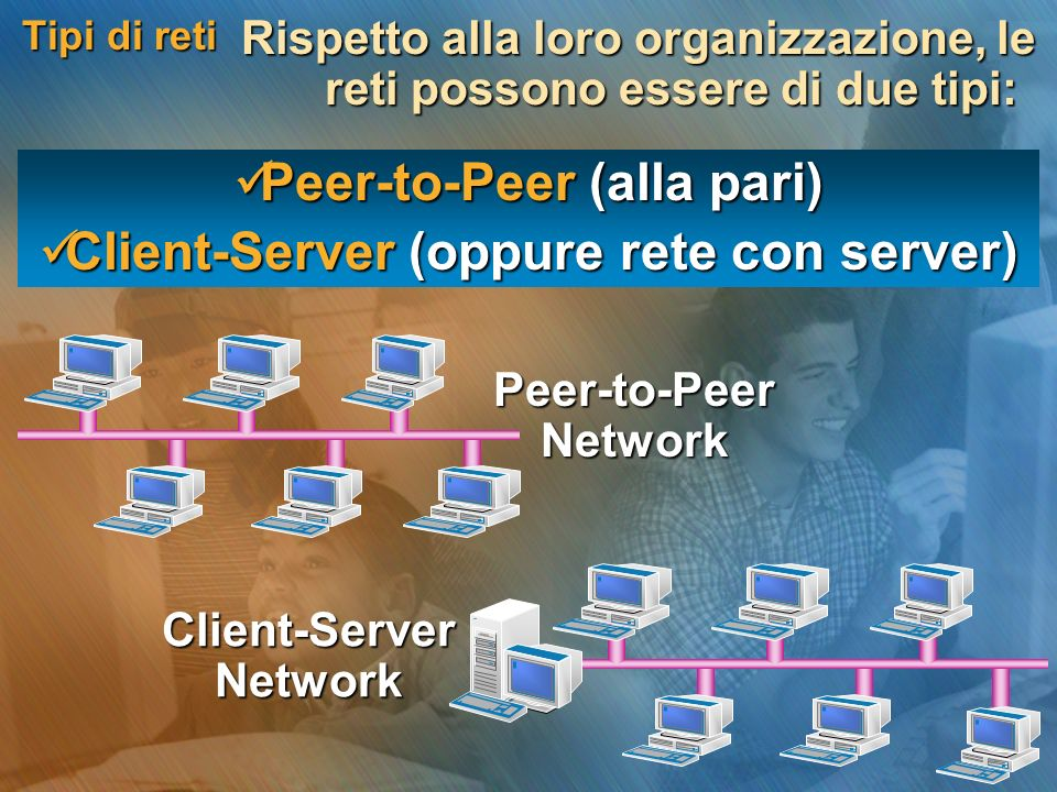 Peer-to-Peer (alla pari) Client-Server (oppure rete con server)
