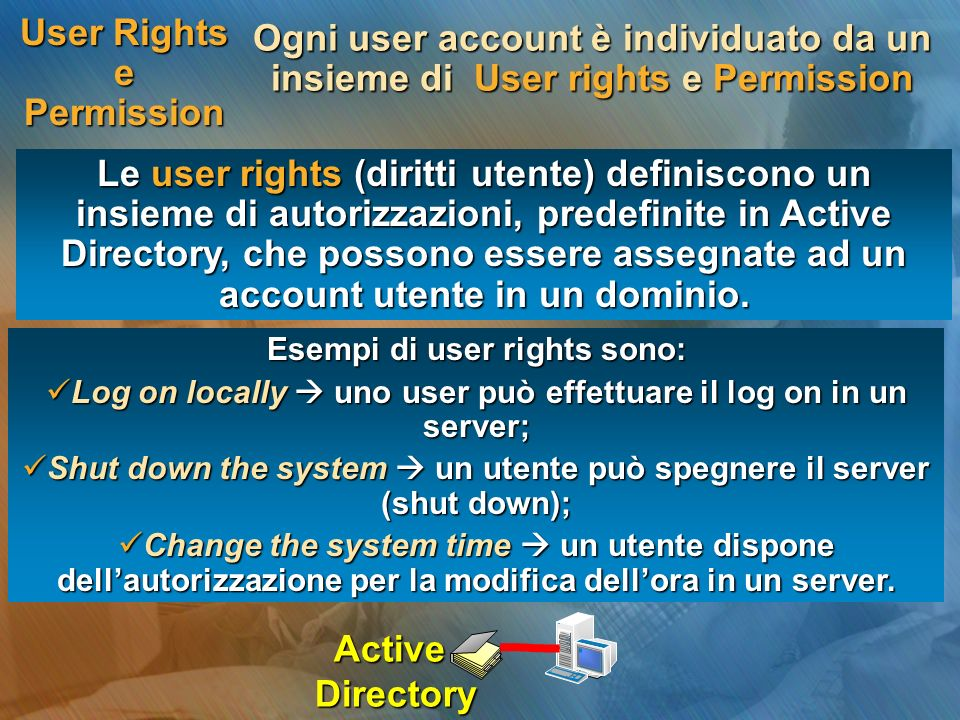 User Rights e Permission