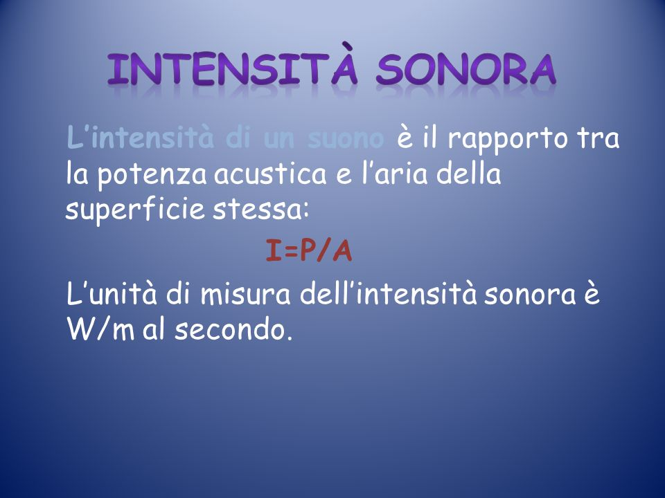 intensità sonora