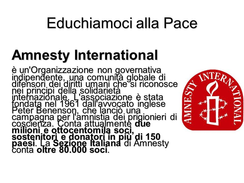 Educhiamoci alla Pace Amnesty International.
