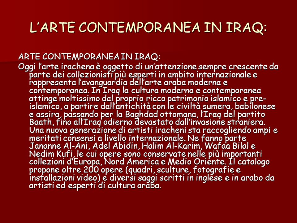 L'ARTE CONTEMPORANEA IN IRAQ: