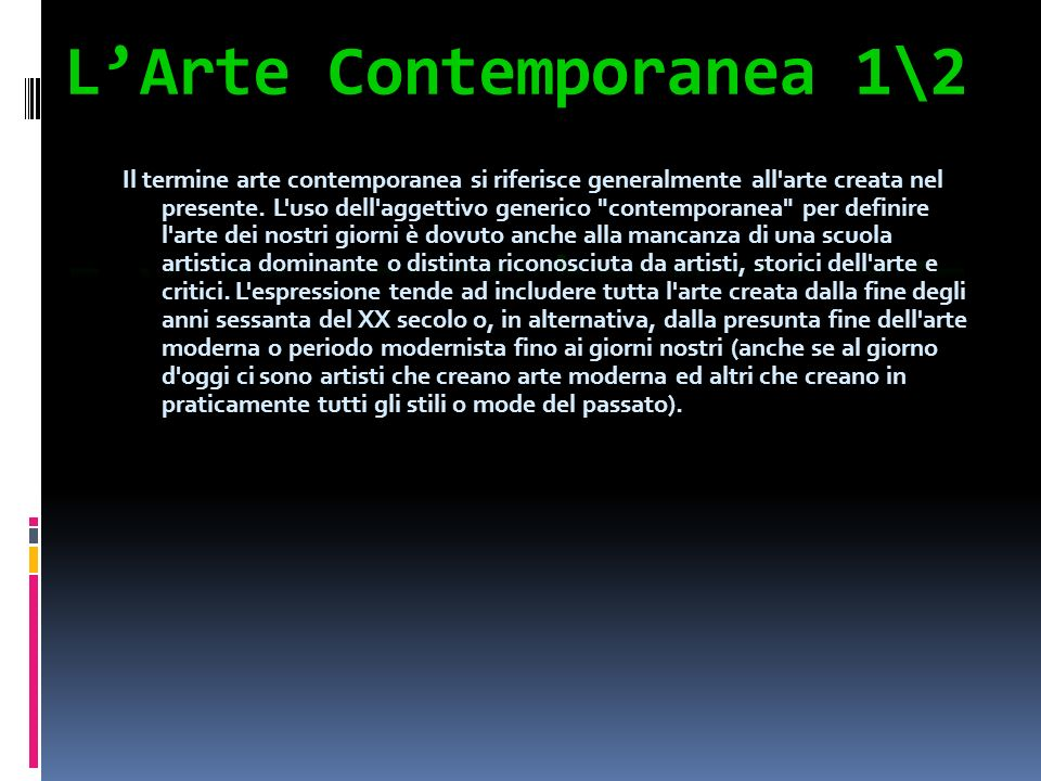 L'Arte Contemporanea 1\2