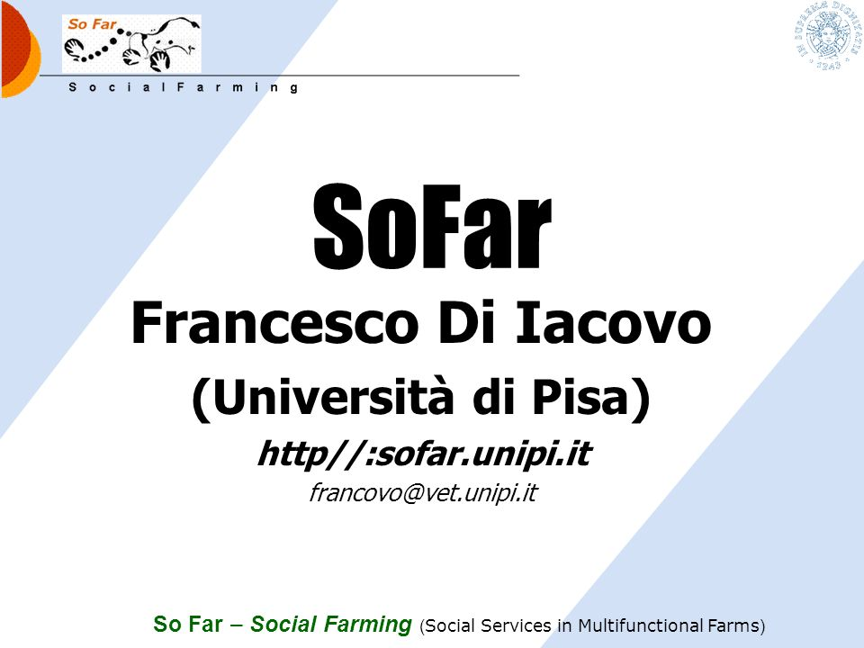 SoFar Francesco Di Iacovo (Università di Pisa) http//:sofar.unipi.it