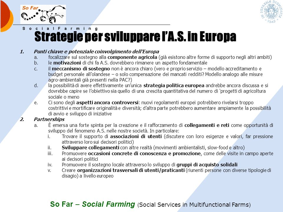Strategie per sviluppare l'A.S. in Europa