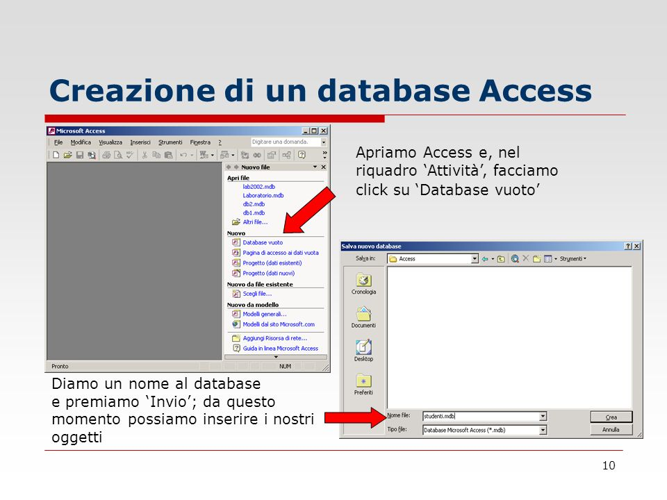 Creazione di un database Access