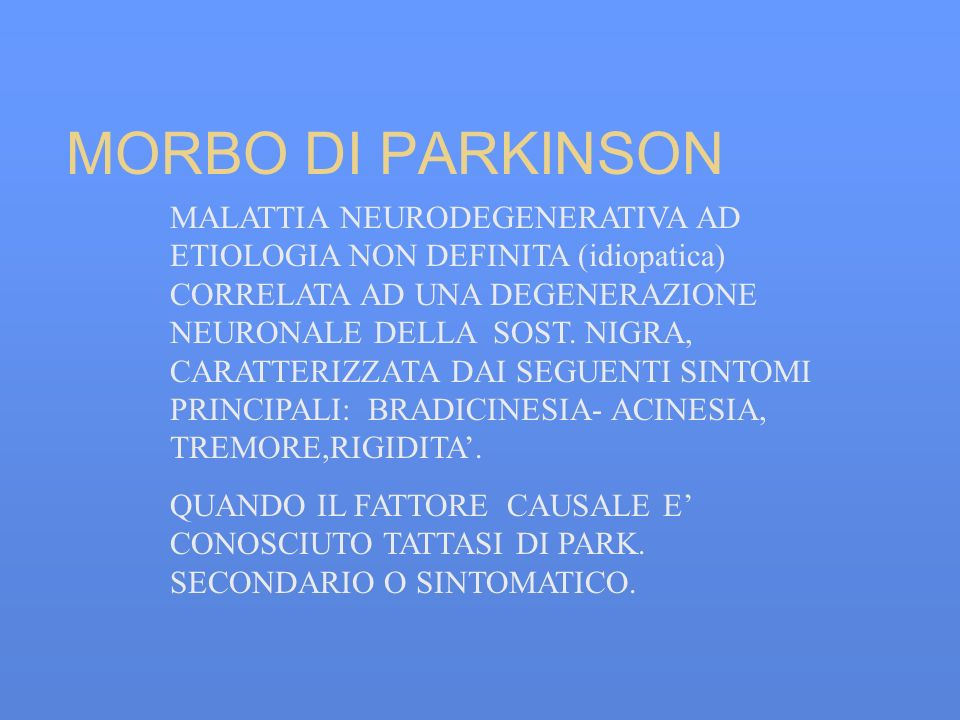 MORBO DI PARKINSON