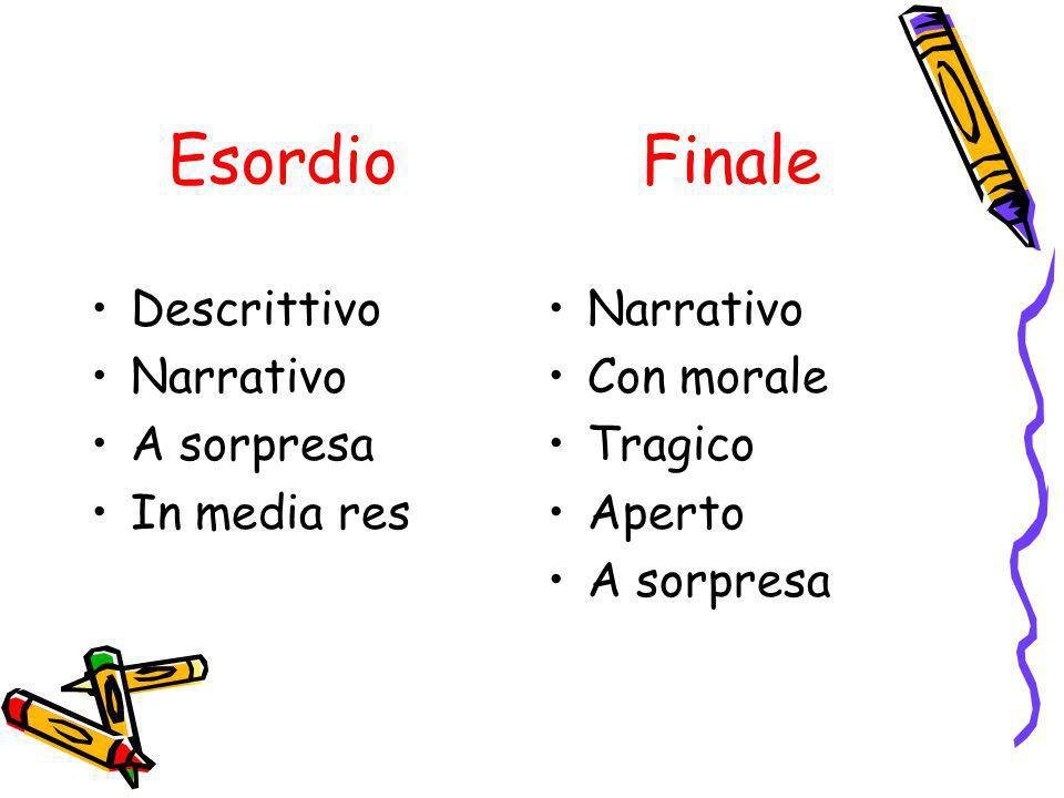 Esordio Finale Descrittivo Narrativo A sorpresa In media res Narrativo