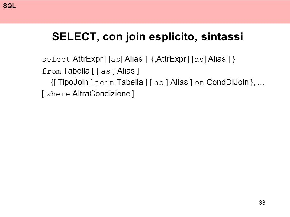 SELECT, con join esplicito, sintassi