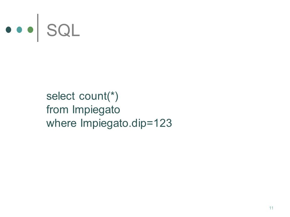 SQL select count(*) from Impiegato where Impiegato.dip=123