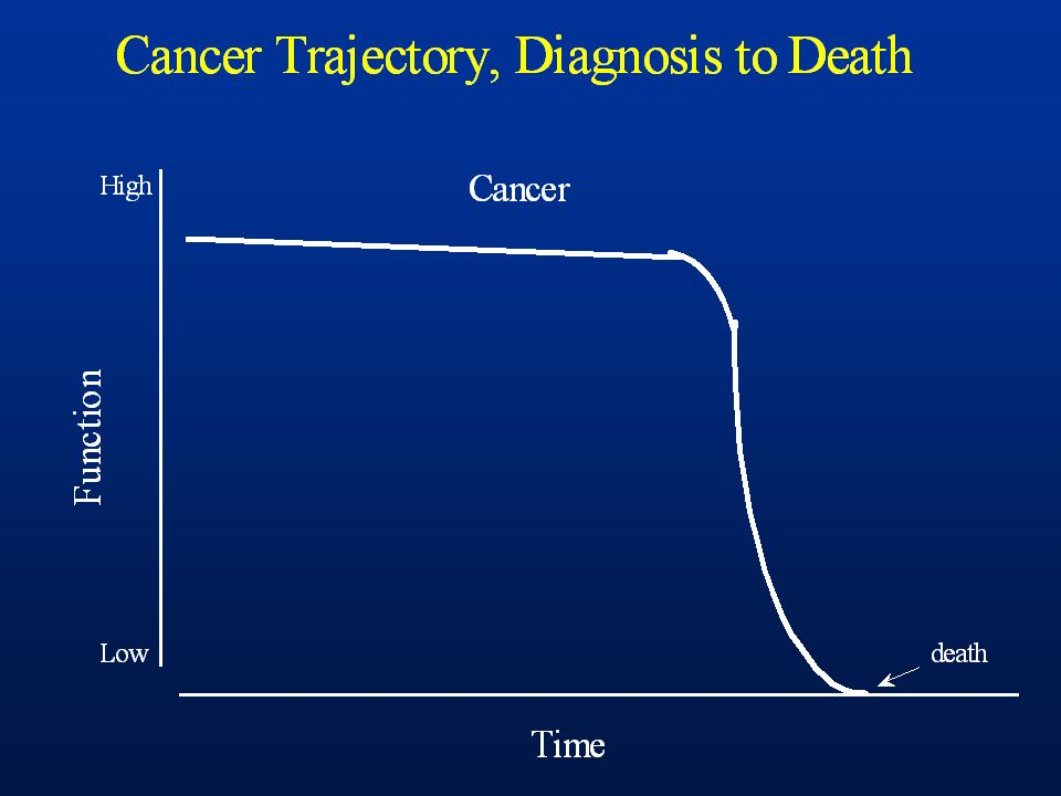 Cancer patients maintain stable condition until brief period of rapid decline and death; this is the model upon which hospice care was constructed to support.