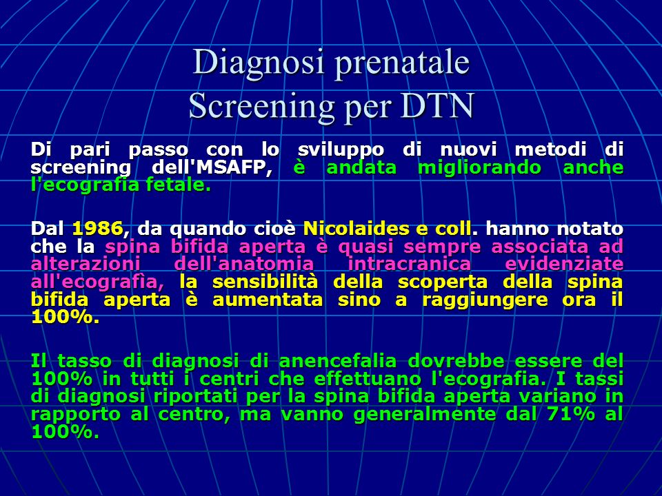 Diagnosi prenatale Screening per DTN
