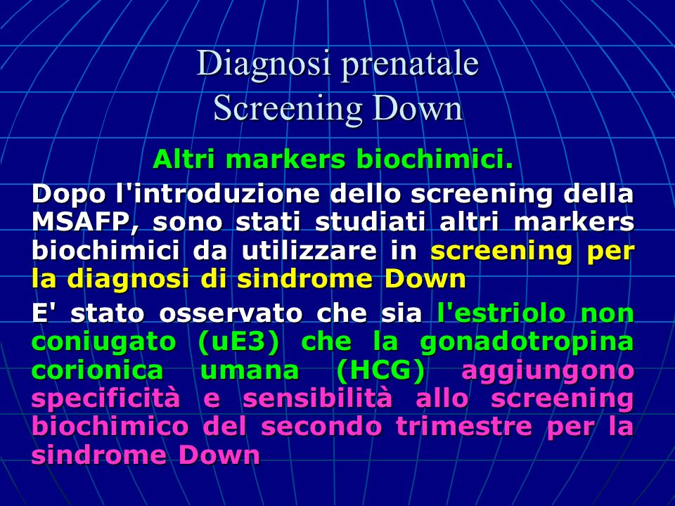 Diagnosi prenatale Screening Down