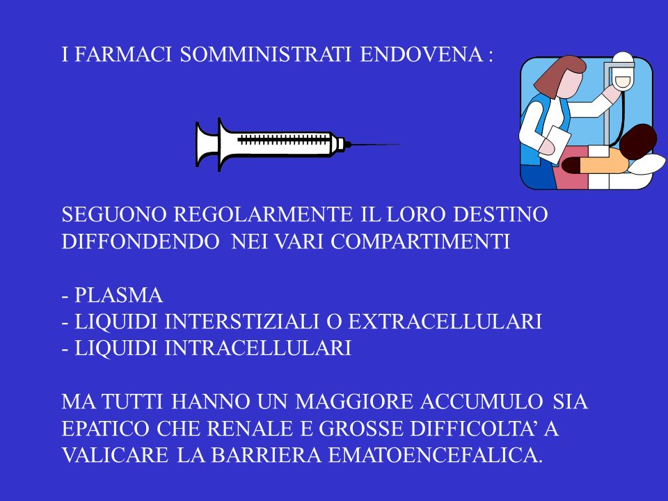 I FARMACI SOMMINISTRATI ENDOVENA :