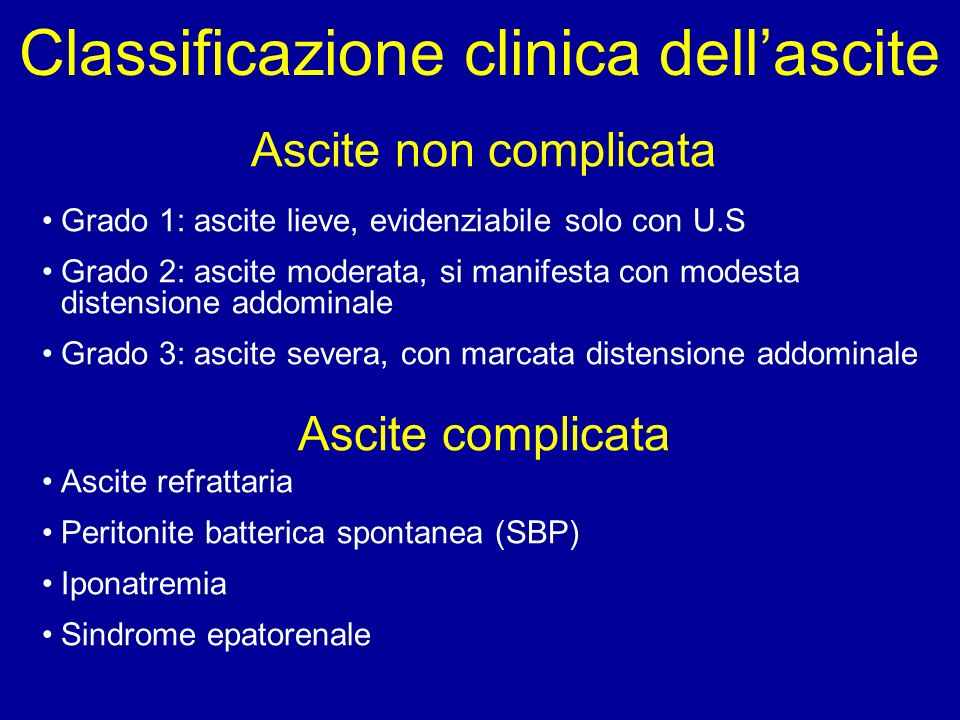 Classificazione clinica dell'ascite