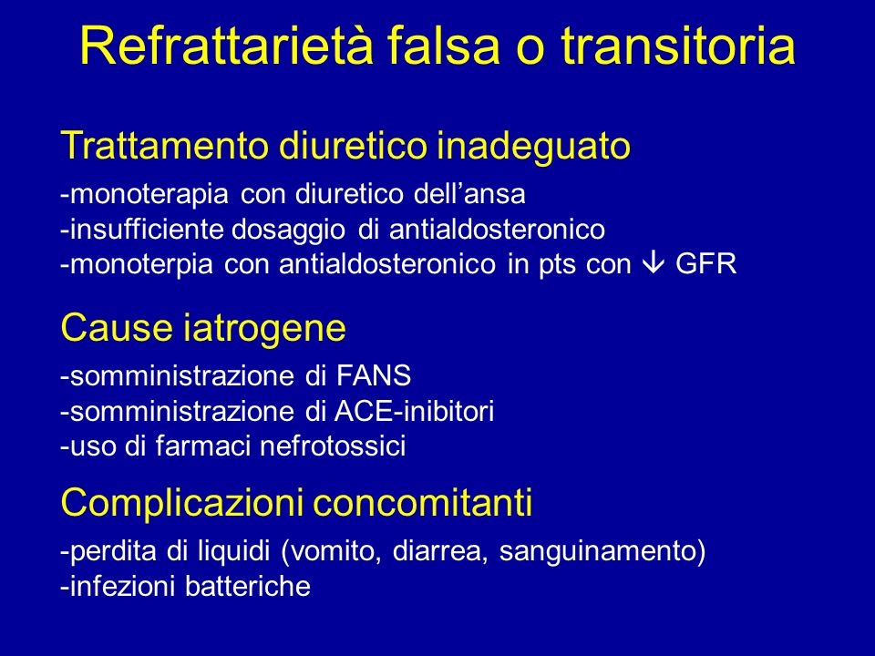 Refrattarietà falsa o transitoria