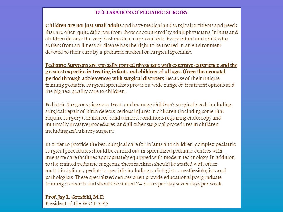 DECLARATION OF PEDIATRIC SURGERY