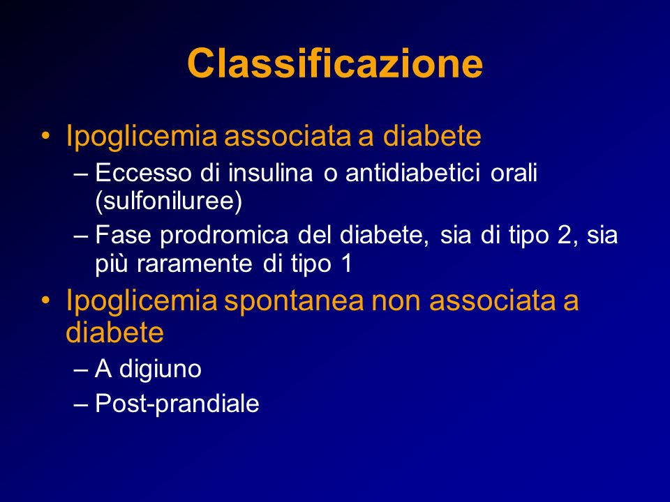 Classificazione Ipoglicemia associata a diabete