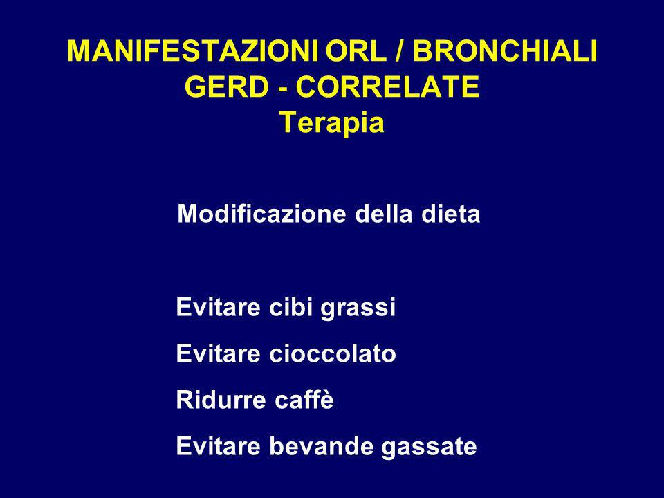 MANIFESTAZIONI ORL / BRONCHIALI GERD - CORRELATE Terapia