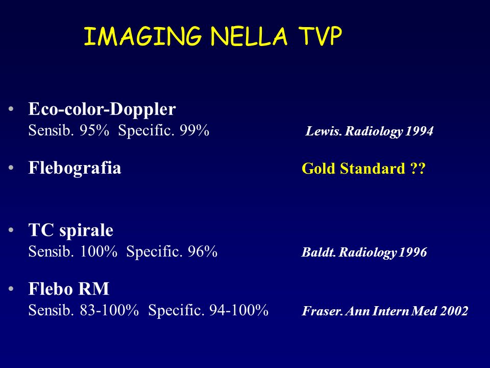 IMAGING NELLA TVP Eco-color-Doppler Flebografia Gold Standard