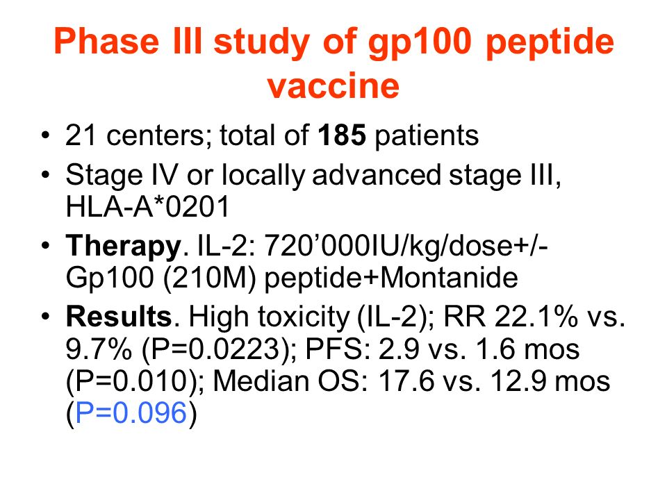 Phase III study of gp100 peptide vaccine