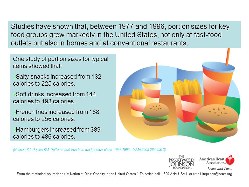 Studies have shown that, between 1977 and 1996, portion sizes for key food groups grew markedly in the United States, not only at fast-food outlets but also in homes and at conventional restaurants.