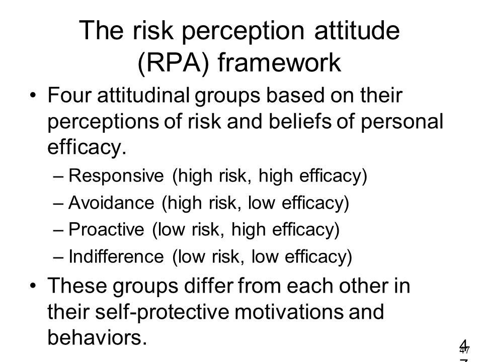 The risk perception attitude (RPA) framework