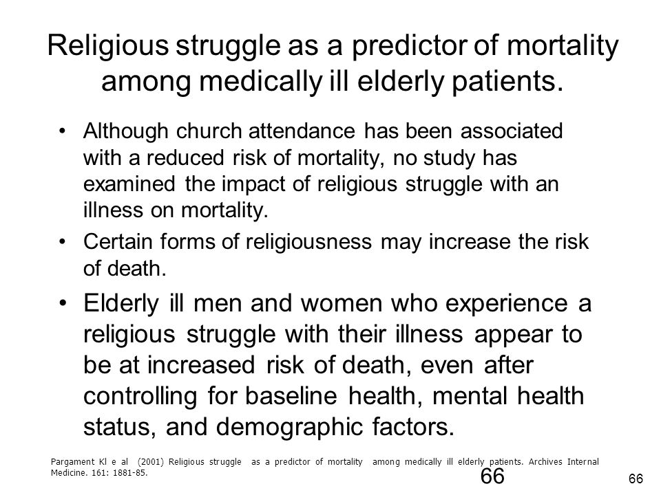 Religious struggle as a predictor of mortality among medically ill elderly patients.