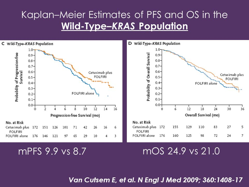 Kaplan–Meier Estimates of PFS and OS in the Wild-Type–KRAS Population