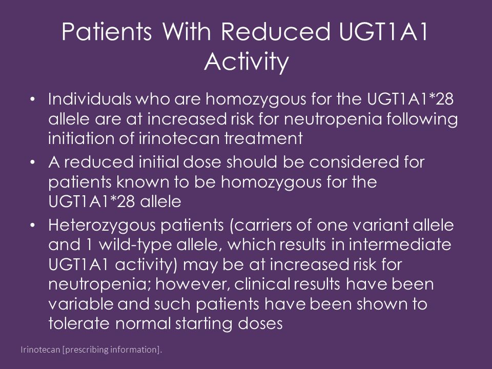 Patients With Reduced UGT1A1 Activity