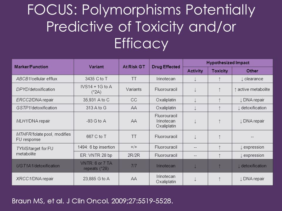FOCUS: Polymorphisms Potentially Predictive of Toxicity and/or Efficacy