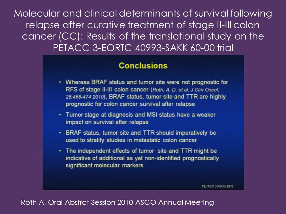 Molecular and clinical determinants of survival following relapse after curative treatment of stage II-III colon cancer (CC): Results of the translational study on the PETACC 3-EORTC 40993-SAKK 60-00 trial