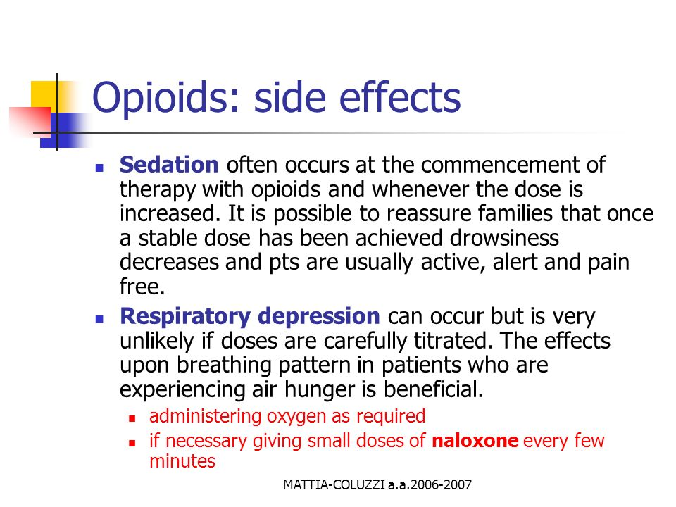 Opioids: side effects