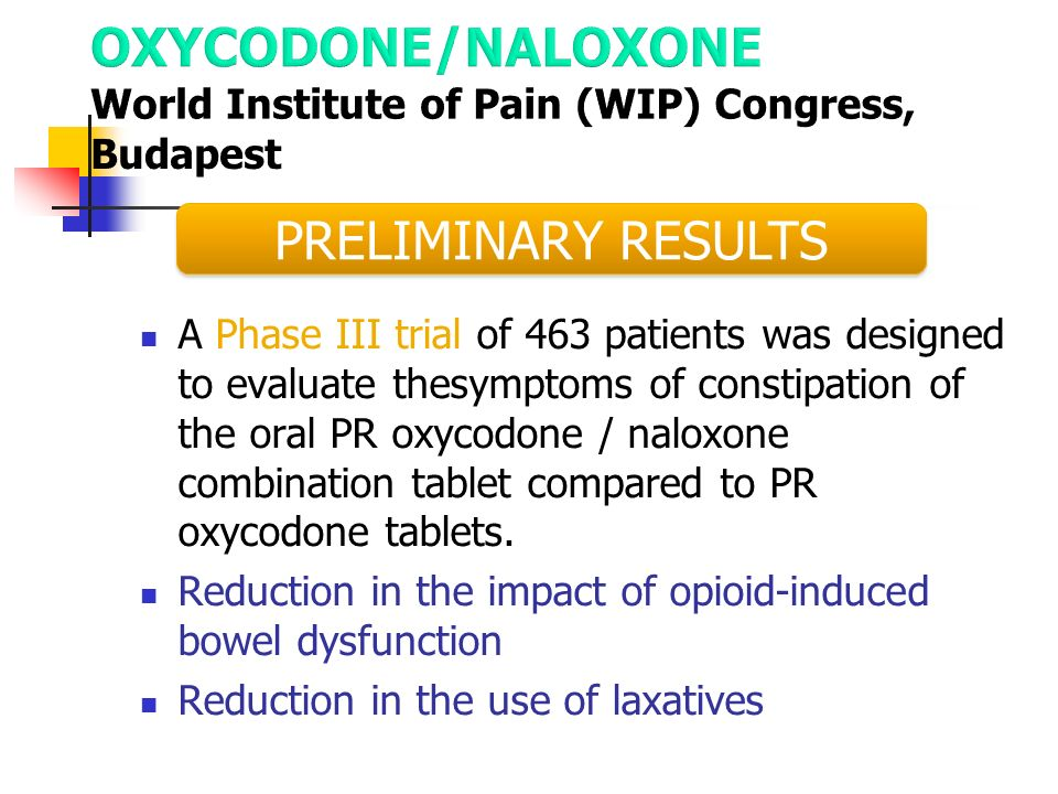 OXYCODONE/NALOXONE World Institute of Pain (WIP) Congress, Budapest