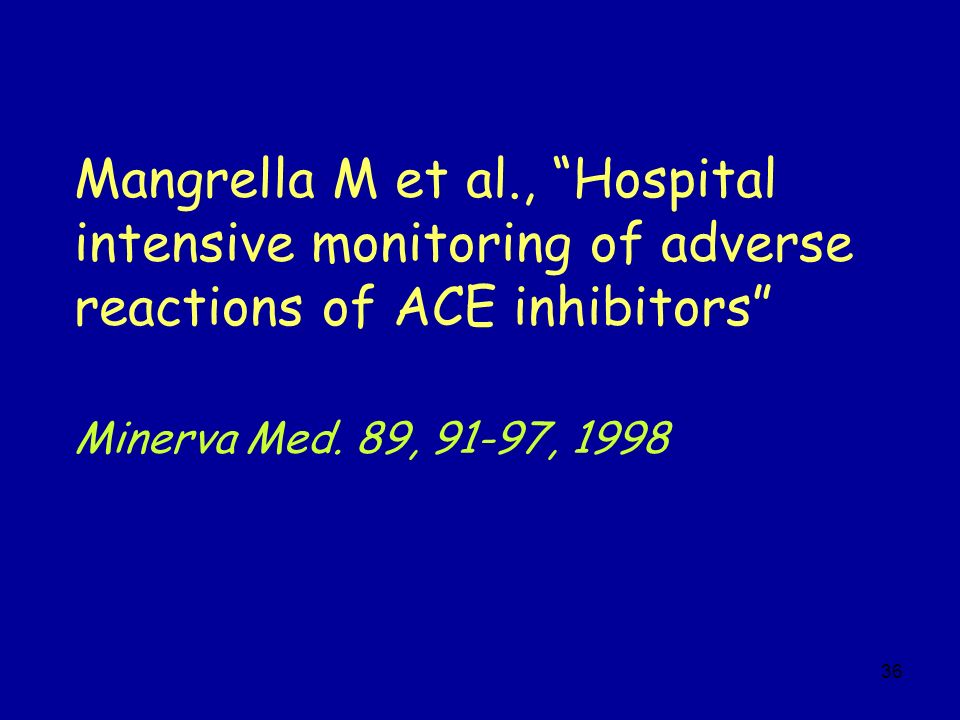 Mangrella M et al., Hospital intensive monitoring of adverse reactions of ACE inhibitors