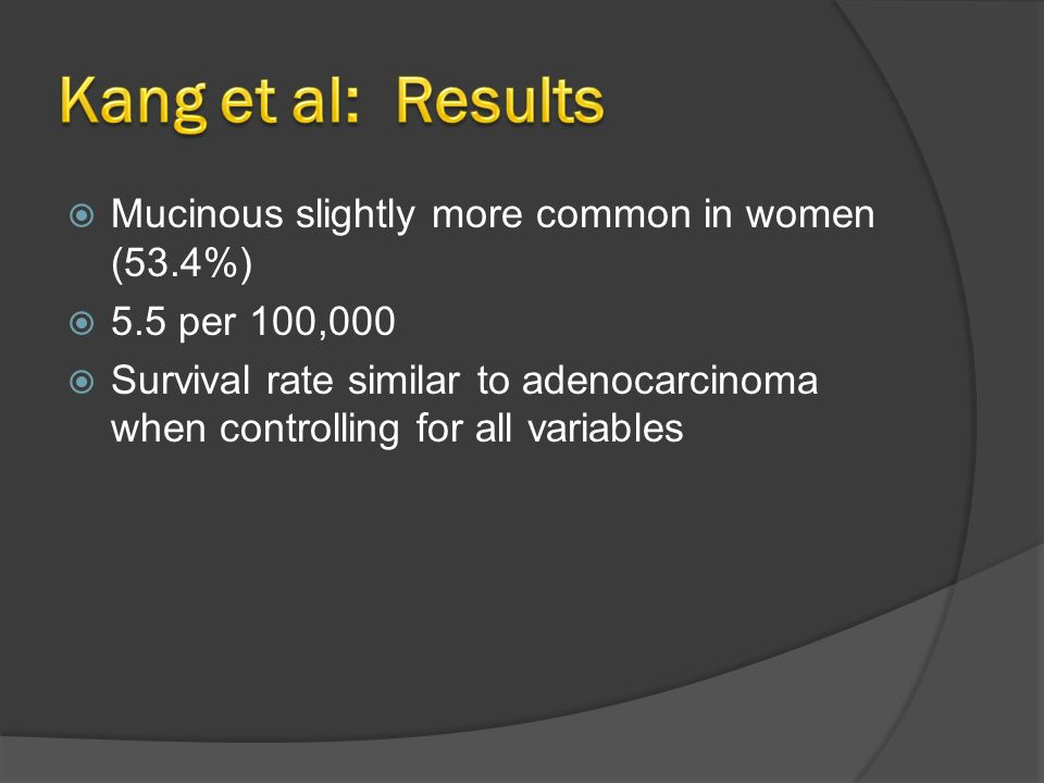 Kang et al: Results Mucinous slightly more common in women (53.4%)