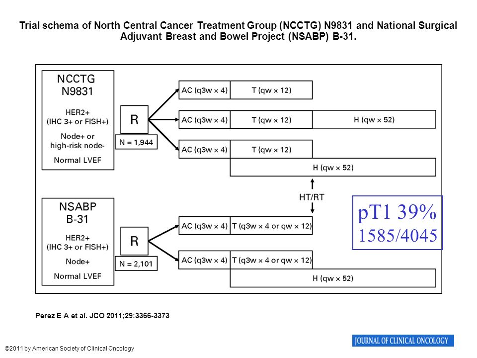 Trial schema of North Central Cancer Treatment Group (NCCTG) N9831 and National Surgical Adjuvant Breast and Bowel Project (NSABP) B-31.