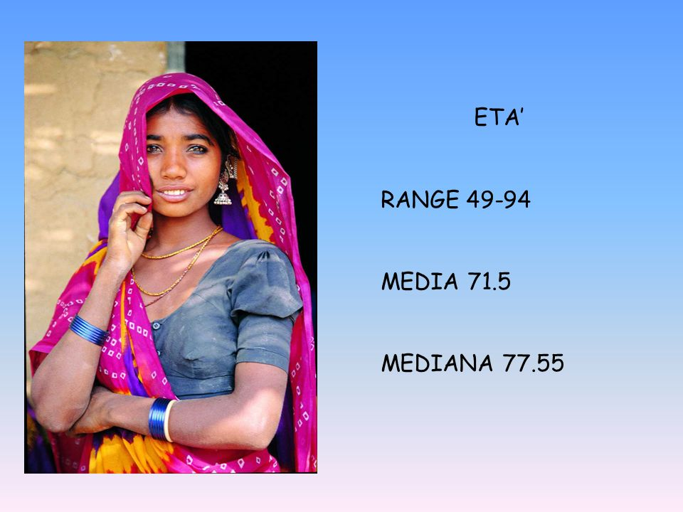 ETA' RANGE 49-94 MEDIA 71.5 MEDIANA 77.55