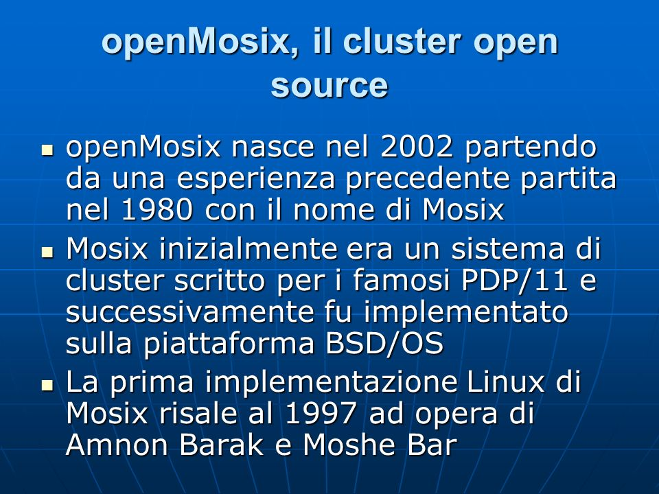 openMosix, il cluster open source