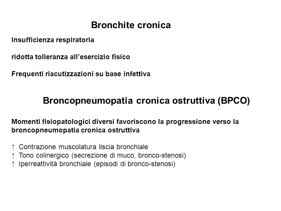 Bronchite cronica Insufficienza respiratoria
