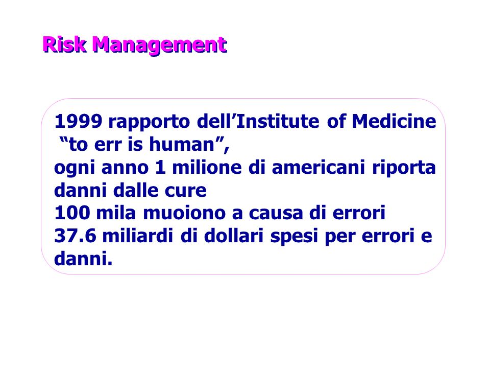 Risk Management 1999 rapporto dell'Institute of Medicine